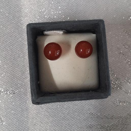 boucles d'oreille en cornaline 6mm
