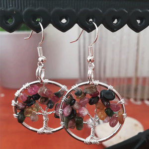 boucles d'oreilles tourmaline rose
